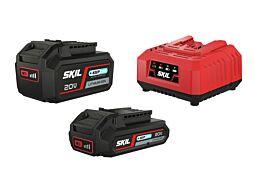"""SKIL Acumulatori (""""20V Max"""" (18 V) 2,0 & 4,0 Ah litiu-ion cu tehnologie """"Keep Cool™"""") şi încărcătorul"""